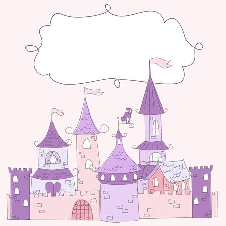 invito compleanno: Illustrazione vettoriale di un castello principessa e il luogo per il testo Vettoriali