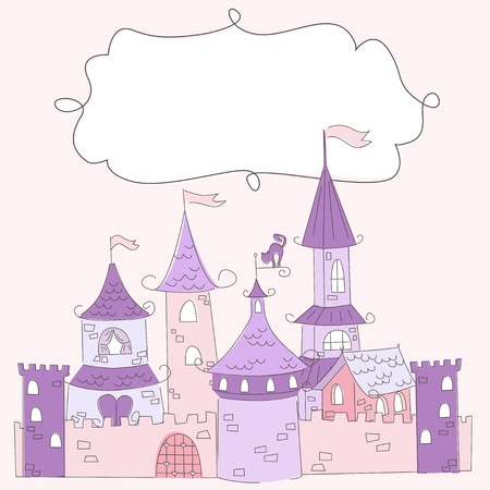 birthday invitation: Vector illustration of a princess castle and place for text