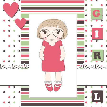 small girl: Invitation or greeting scrapbook card with a cute girl in glasses Illustration