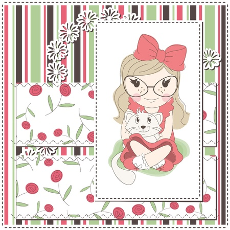 Girl greeting card with a cute girl and white kitten Vector