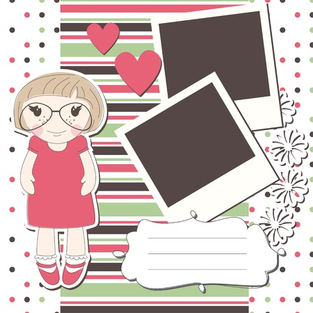 fashion bril: Meisje wenskaart met een schattig meisje, fotolijst en plaats voor tekst
