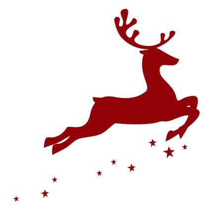 illustration of a red reindeer isolated on white background Vector