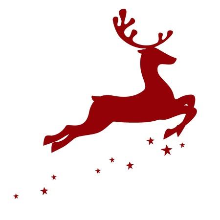 renos navide�os: Ilustraci�n de un reno rojo aislado sobre fondo blanco