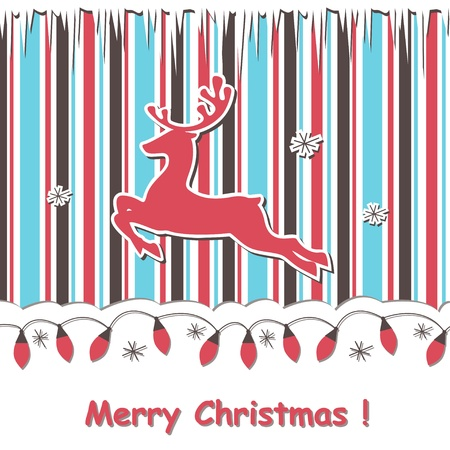 Christmas greeting scrapbook card with reindeer and festive garland Illustration