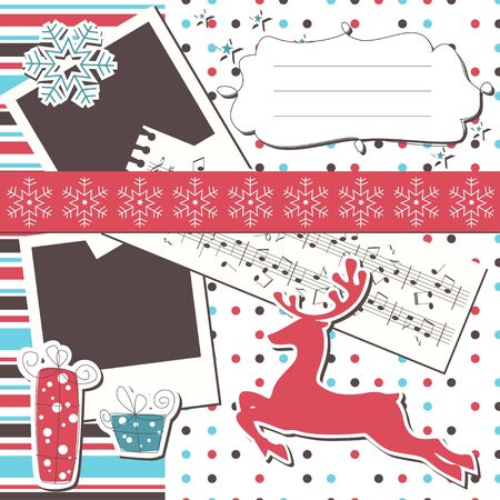 Christmas greeting scrapbook card with reindeer Vector