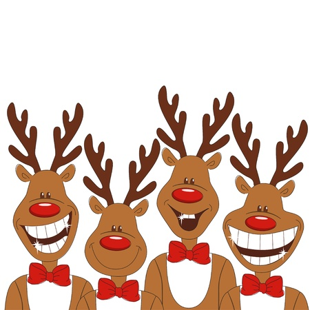 Christmas illustration of four cartoon reindeer. Vector Illustration