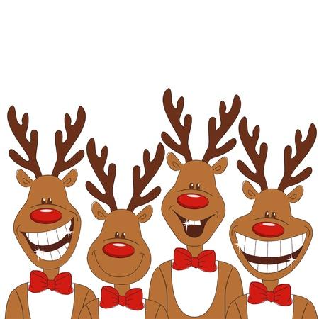 boldog karácsonyt: Karácsonyi illusztráció négy karikatúra rénszarvas. Vector