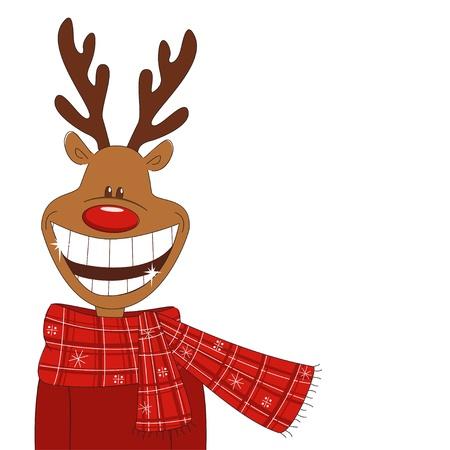 Christmas illustration of cartoon reindeer. Vector