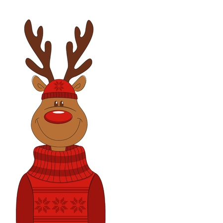 Christmas illustration of cartoon reindeer. Vector Vector