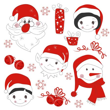 Christmas icons and elements, isolated on white background Vector
