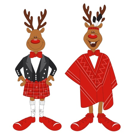scottish: Vector illustration of cartoon Christmas reindeer, isolated white background