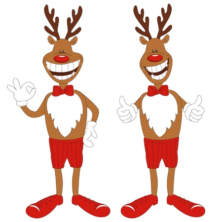 good humor: Vector illustration of cartoon Christmas reindeer, isolated white background