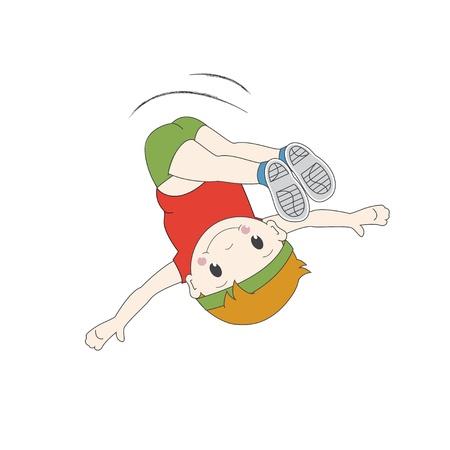 Vektor-Illustration der Jungen springen in der Luft