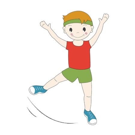 aerobic exercise: Vector illustration of a young gymnast Illustration
