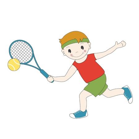 jugando tenis: Ilustración del vector del muchacho de la historieta que juega a tenis