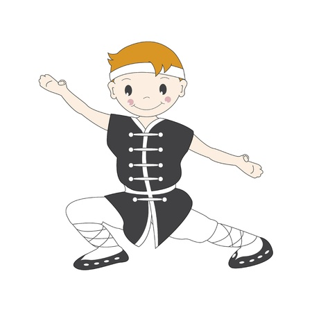 Vector illustration of cartoon  kung fu boy  Vector