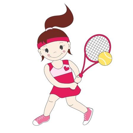 jugando tenis: Ilustración vectorial de tenis que juega chica