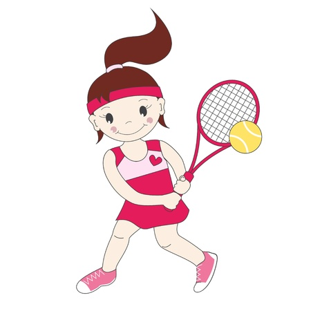 tennis racquet: Vector illustration of little girl playing tennis  Illustration