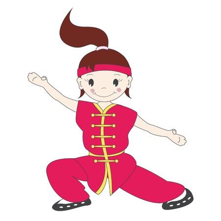 kung: Vector illustration of cartoon  kung fu girl Illustration