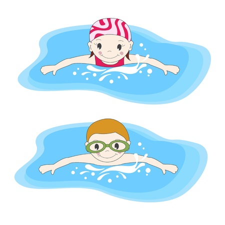 young boy in pool: Boy and swimming in the pool Illustration