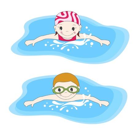natation: El muchacho y la natación en la piscina