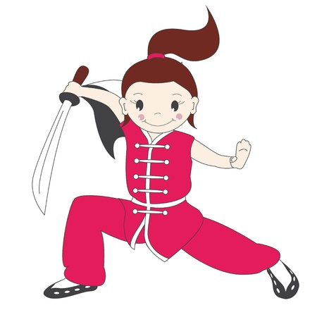 quickness: illustration of  kung fu girl with sword