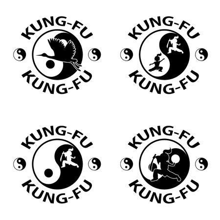 yin y yan: Kung fu logo, aislados en fondo blanco