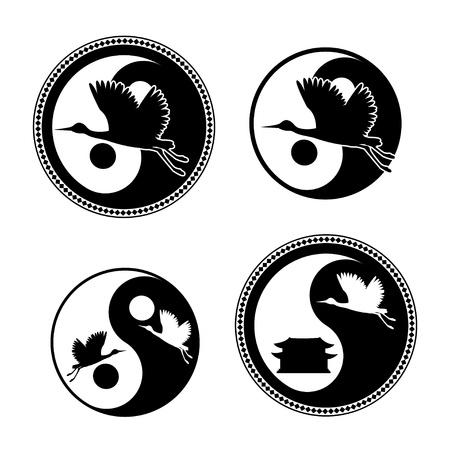 Yin Yang Symbol with flying cranes Ilustração