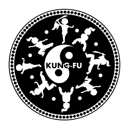 Kung fu logo,  isolated on white background Vector