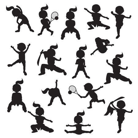 kung fu: Silhouettes of children goes in for sports