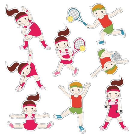 gymnastic girl: Set of children goes in for sports