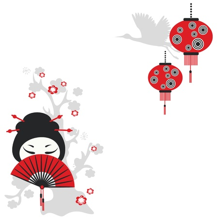 crane fly: Chinese girl with a fan