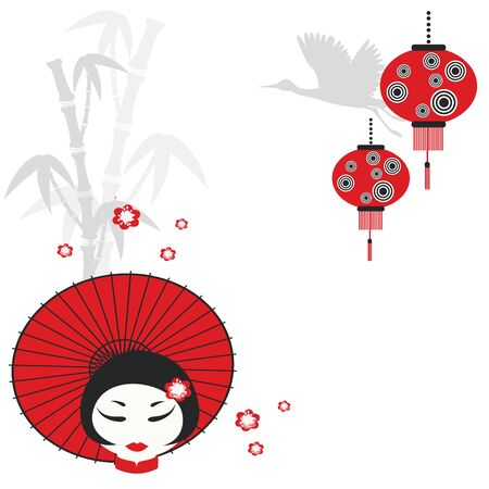 crane fly: Chinese girl with umbrella Illustration