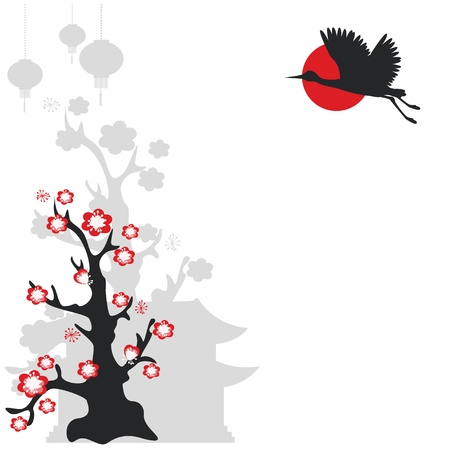 Illustration with  flying crane bird and flowering tree Vector