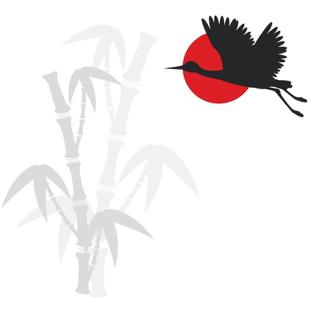 east asian ethnicity: Illustration with bamboo branches and flying crane bird Illustration