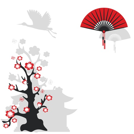 japan culture: Illustration with  flying crane bird, Chinese fan and flowering tree