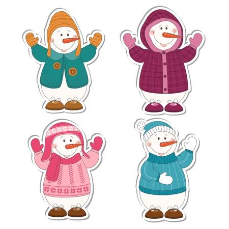 Set of cartoon snowman isolated on white Stock Vector - 15684749