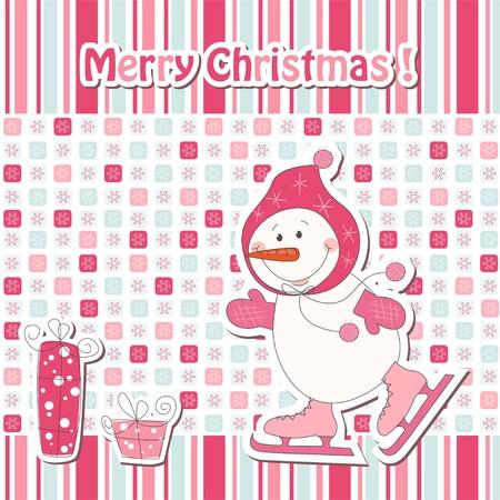Christmas greeting card with cartoon  snowman ice skating Stock Vector - 15684748