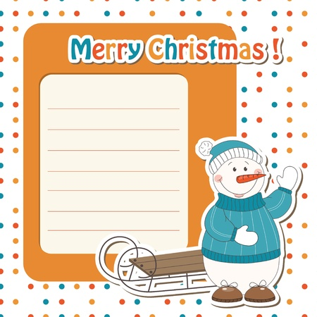 Christmas greeting card with cartoon  snowman and sled Vector