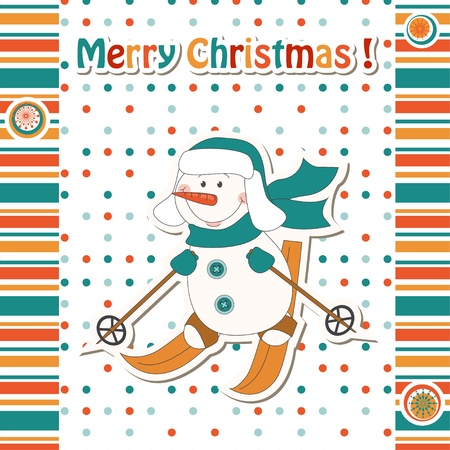 Christmas greeting card with cartoon  snowman skiing  Vector