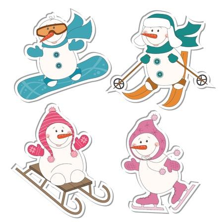 Wintersport sneeuwpop, slee, schaatsen, ski's, snowboard, geïsoleerd op wit Vector Illustratie