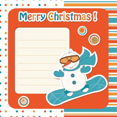Christmas greeting card with cartoon  snowman on snowboard Vector