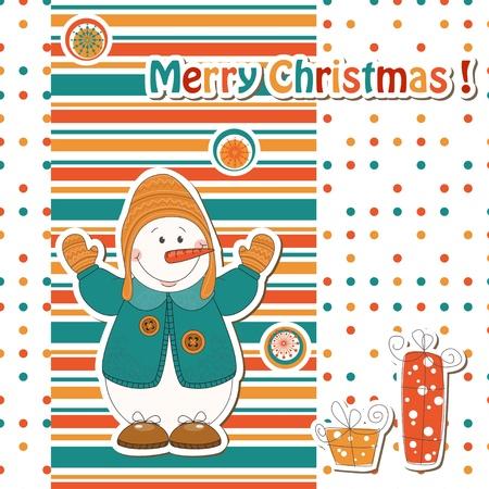Christmas greeting card with cartoon  snowman Stock Vector - 15684744