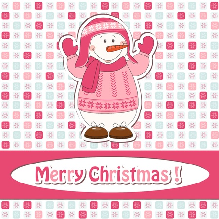 Christmas greeting card with cartoon  snowman Vector