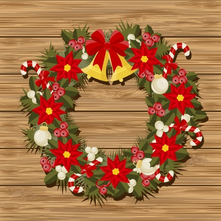 door bell:  Christmas wreath  on a wood background