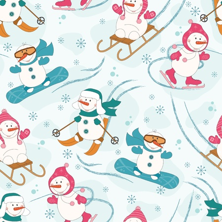 sledding:  Seamless pattern with winter sport  snowman, sled, skates, skis,snowboard