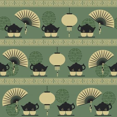 chinese fan: Seamless pattern tea time