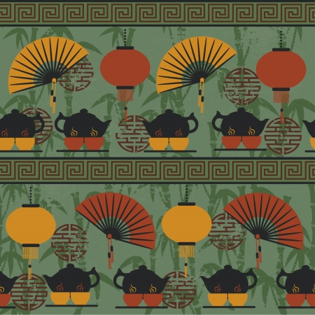 east asian ethnicity: Seamless pattern tea time