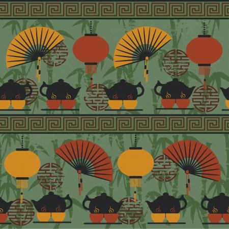 white fan: Seamless pattern tea time