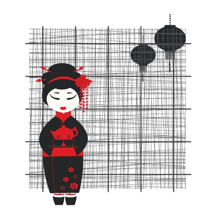 japanese ethnicity: illustration of a geisha girl . Tea ceremony